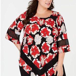 Alfani Womens Floral Crochet Trim Blouse XL